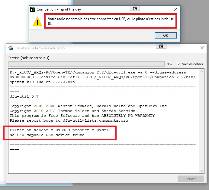 No DFU capable USB device found