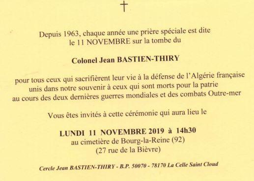 cérémonie en l'honneur du Lt Col Jean BASTIEN-THIRY Bt10