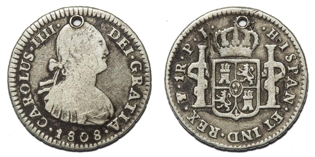1 real Carlos IV, 1808 ceca Potosí con error en leyenda 379_to10