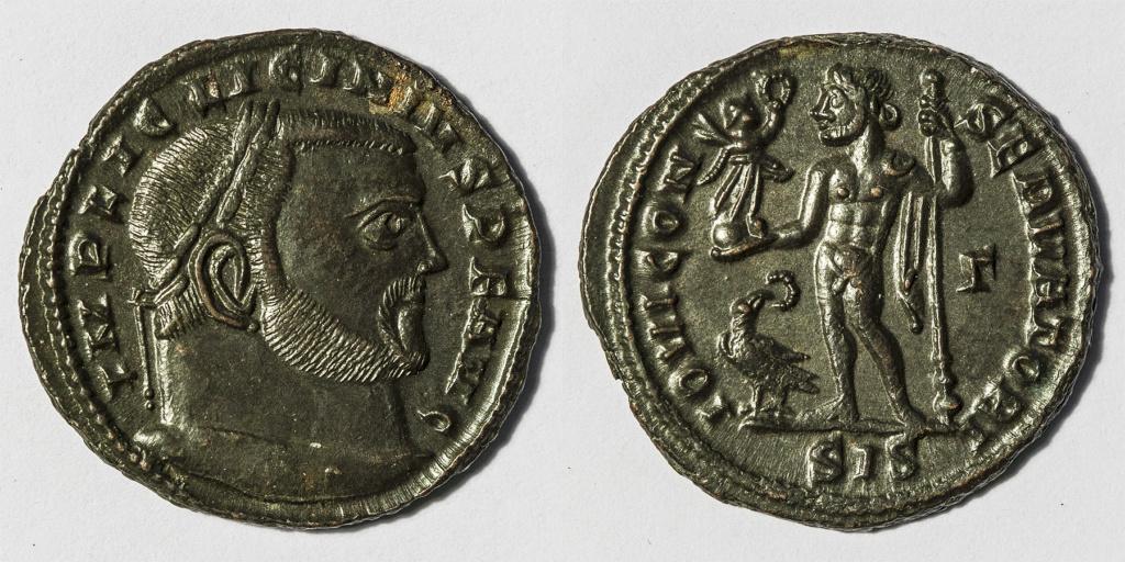 Nummus de Licinio I. IOVI CONSERVATORI. Júpiter estante a izq. Siscia. Nummus10