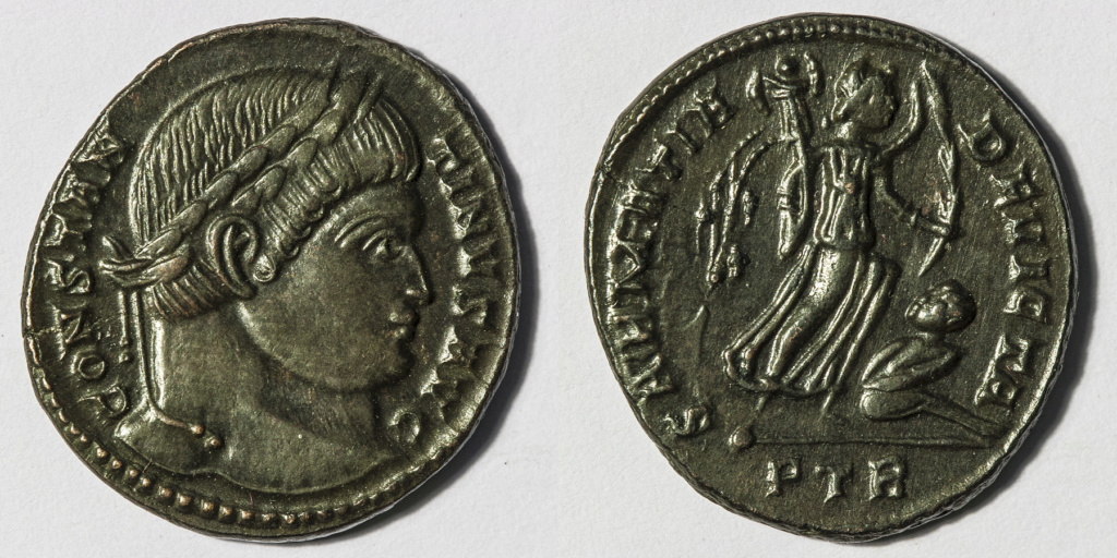 Nummus de Constantino I. SARMATIA DEVICTA. Trier Nummus11