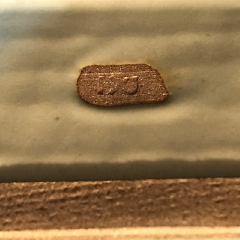Blu white ceramic tray with Whales motifs .Unknown pottery mark. Img_0113