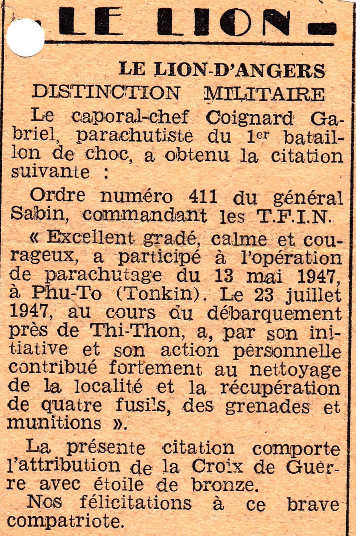 AVIS DE DECES Gabriel COIGNARD , 2ème Cie 0710