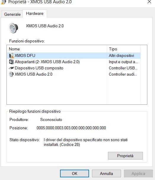 Driver per DAC USB PCM5102 XMOS 384K/32bit  Driver11