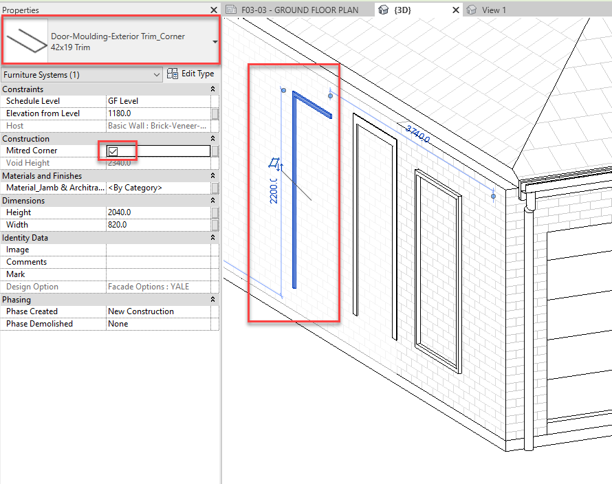 How to add the Mitred corner Exterior Trim 112