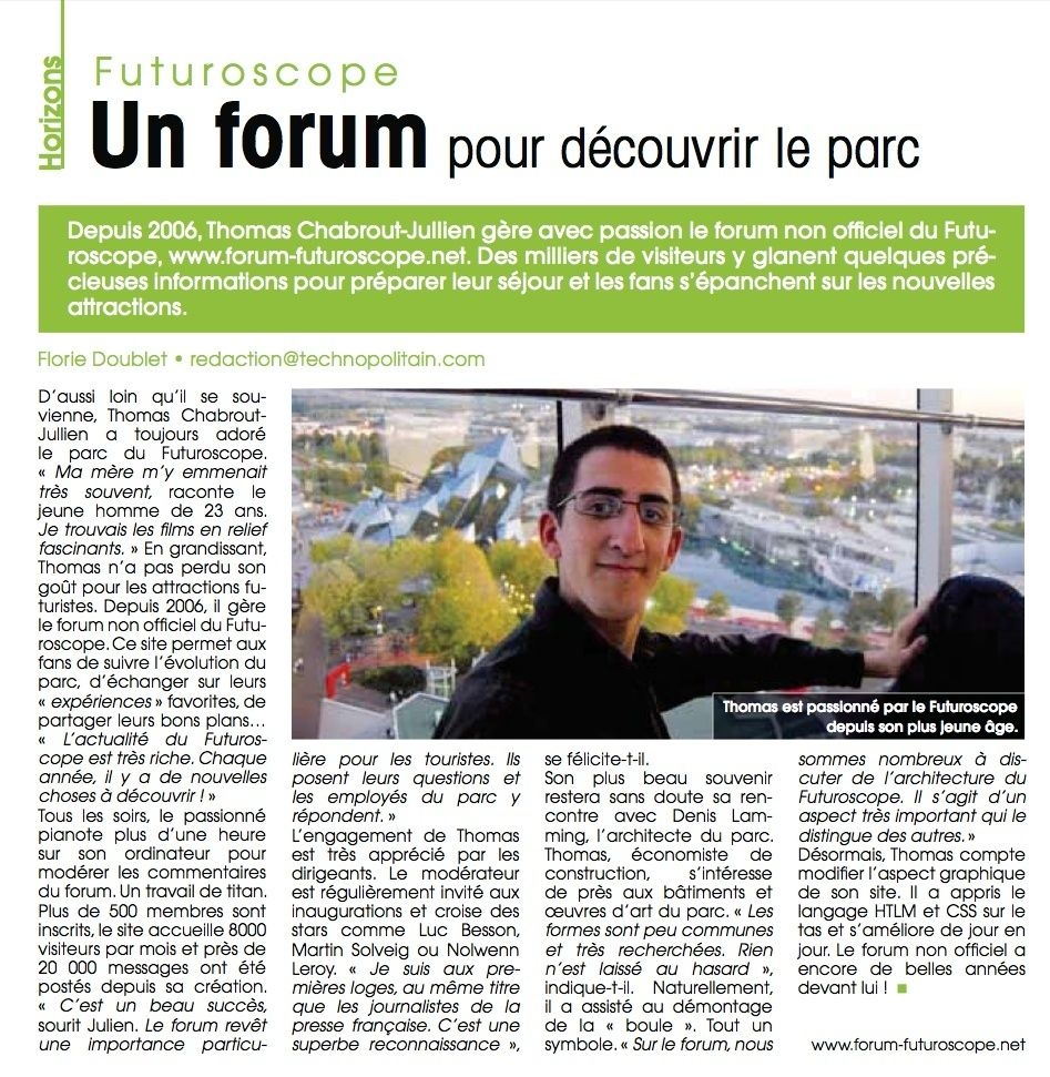 Article sur le Forum du Futuroscope dans le Technopolitain Articl10