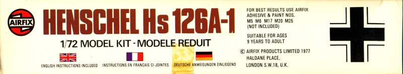 Henschel Hs 126 A/B, Airfix, 1/72, 1977 Hs_12612