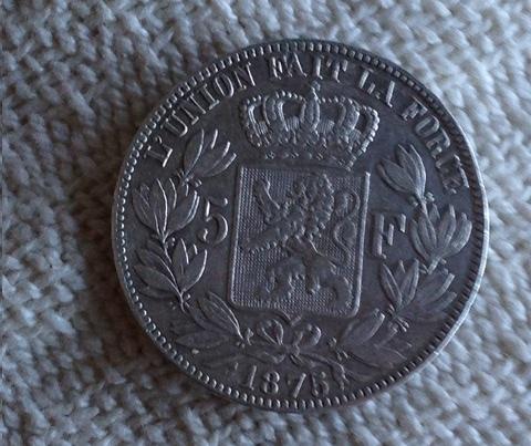 5 Francs. Bélgica. 1875. Bruselas Img_0111