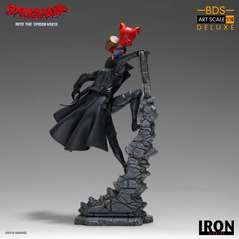 IRON STUDIOS : Spider-Man: Into The Spider-Verse – Noir Spider-Man and Spider-Ham Statue Iron-161