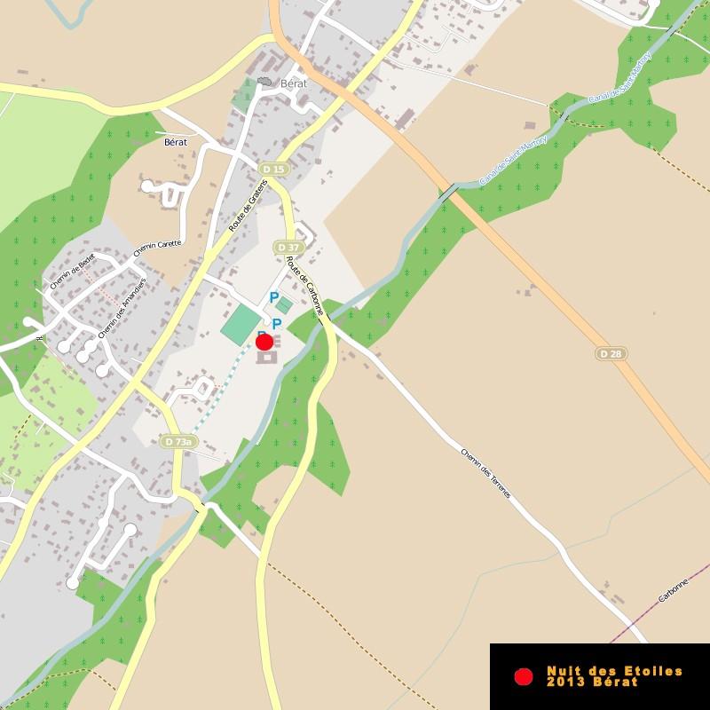 La Nuit des Etoiles 2013 à Bérat (31 - Sud Toulouse)   Map10