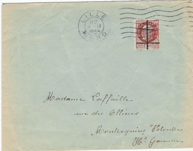 Timbres de la libération de Lille (oblitérations sur lettre). Envelo10