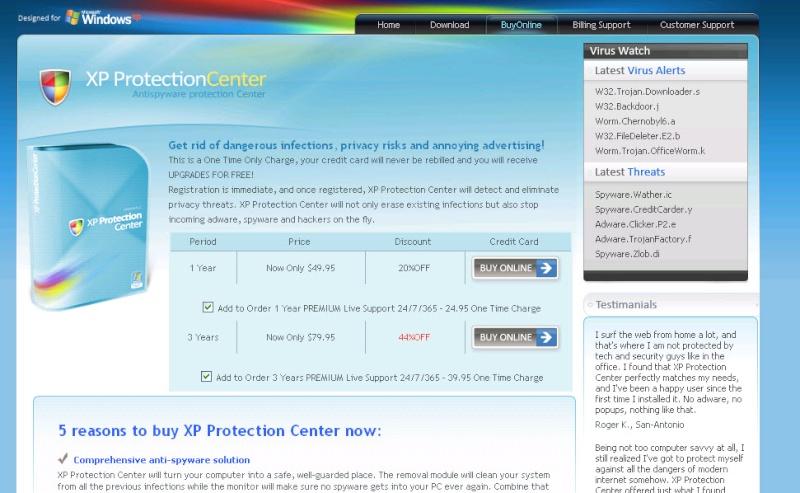 XP Protection Center - Guida alla rimozione Protec10