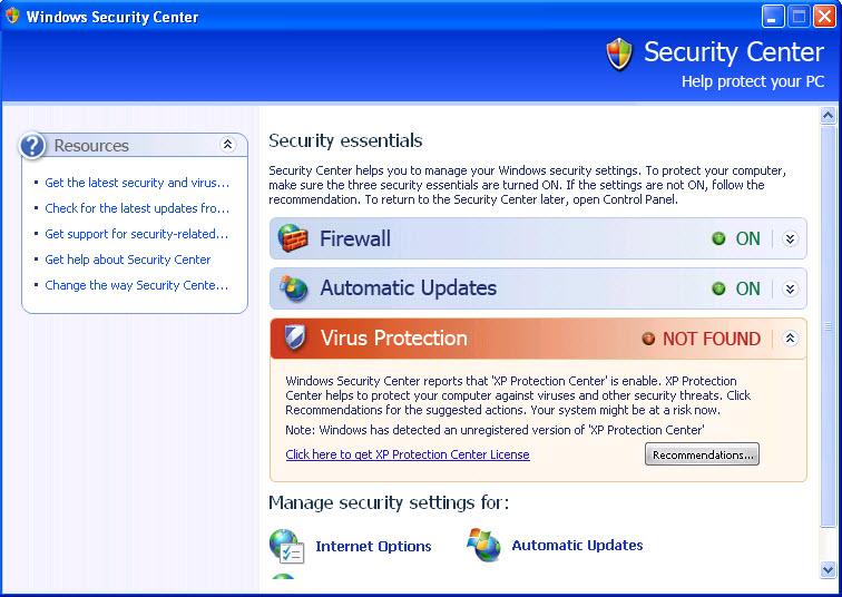 XP Protection Center - Guida alla rimozione Protec12