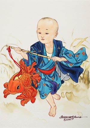 """Aquarelles d' Asie """" plein de douceur"""" 86rajl10"""