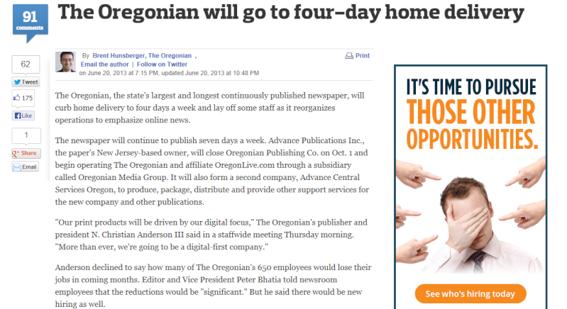 Oregonian Reduces Home Deliveries Othero10