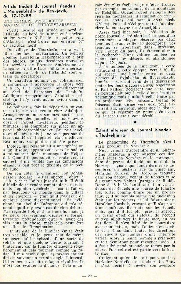 "Islande et Norvège - Revue ""Phénomènes spatiaux"" du GEPA n° 19 - Mars 1969 Island11"