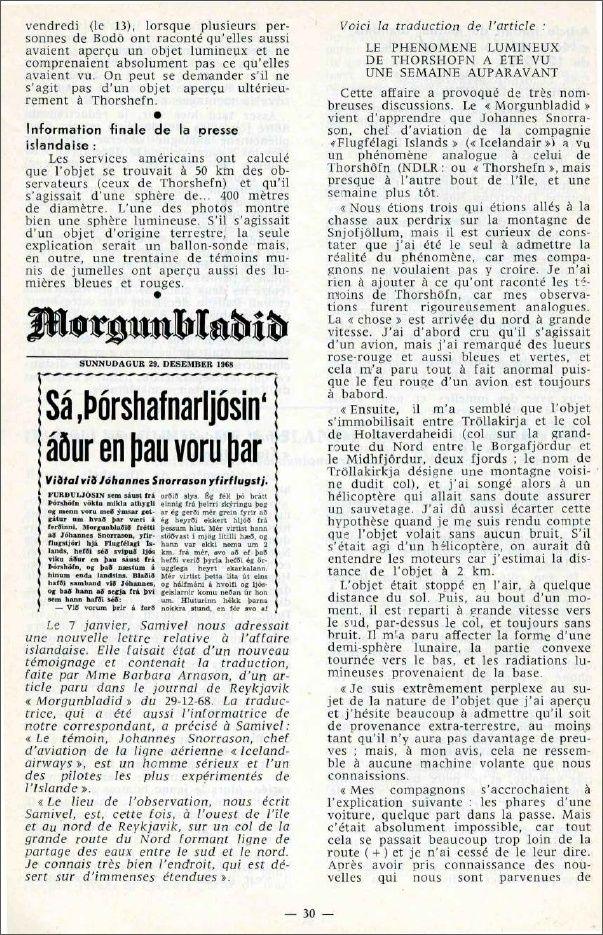 "Islande et Norvège - Revue ""Phénomènes spatiaux"" du GEPA n° 19 - Mars 1969 Island12"
