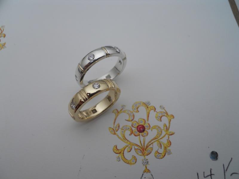 Anneau argent et or, anneau tout or avec diamants 6 X 8/100 ct 08610