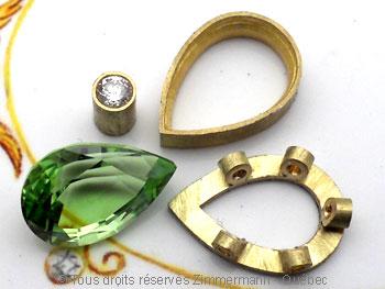 Pendentif or Péridot 3,45 cts Diamant 7/100 ct................. Peofb212