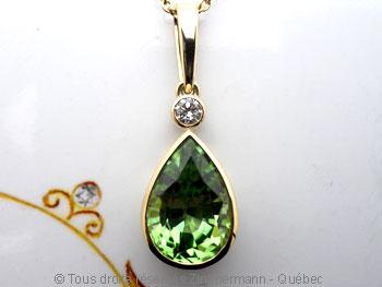 Pendentif or Péridot 3,45 cts Diamant 7/100 ct................. Peofb216