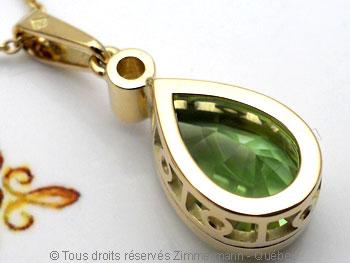 Pendentif or Péridot 3,45 cts Diamant 7/100 ct................. Peofb218