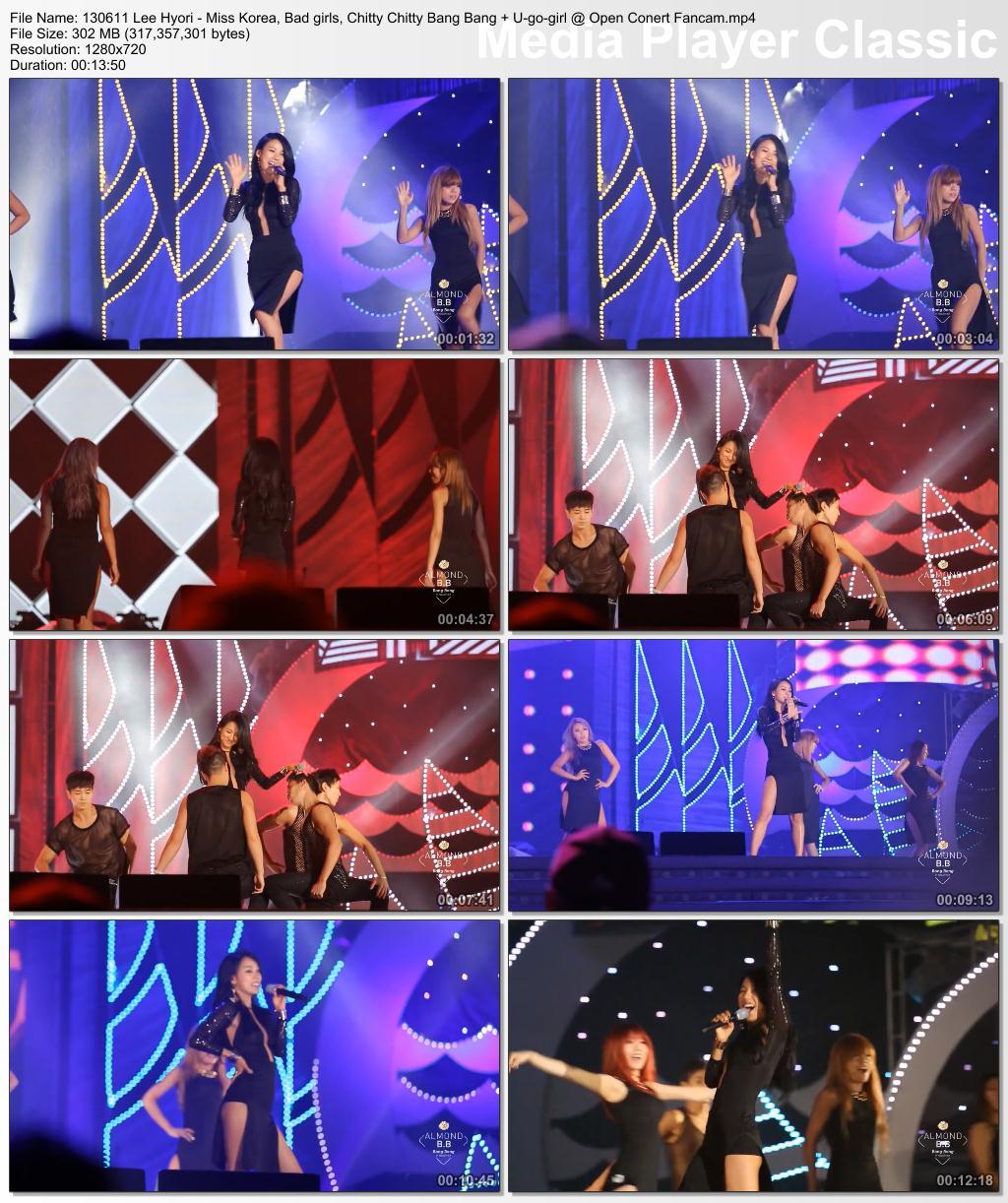 [130611] Hyori - Miss Korea, Bad girls, Chitty Chitty Bang Bang + U-go-girl @ Open Conert {Fancam} 13061111