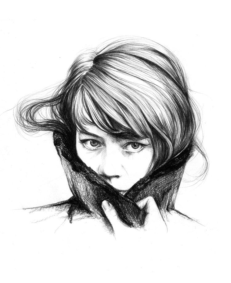 Portraits au crayon de Françoise Hardy Franco10
