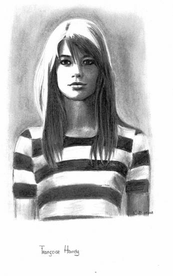 Portraits au crayon de Françoise Hardy Franco12