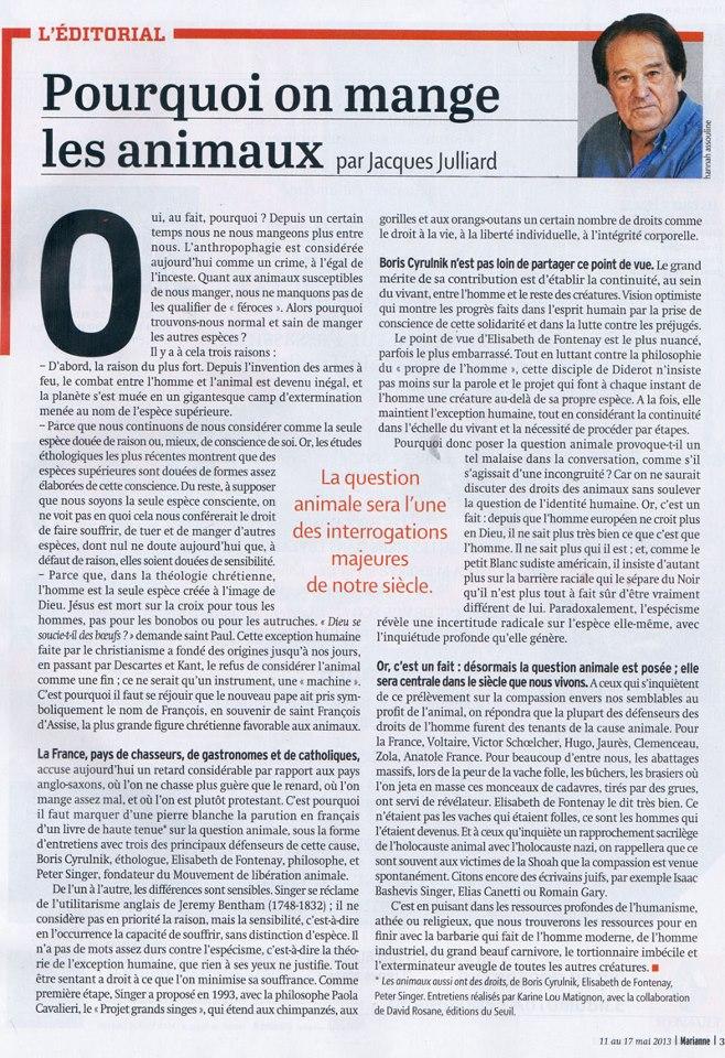 Marianne MAI 2013, édito historique sur la condition animal ! 20130510