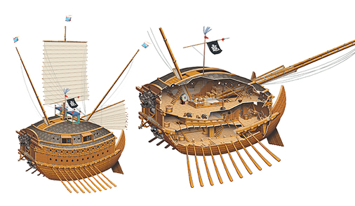 Bateaux Tortues Coréens Captu106