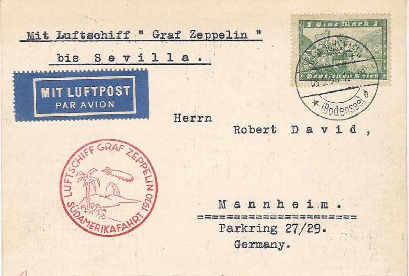 Südamerikafahrt 1930, Post nach Sevilla 57_i_k10