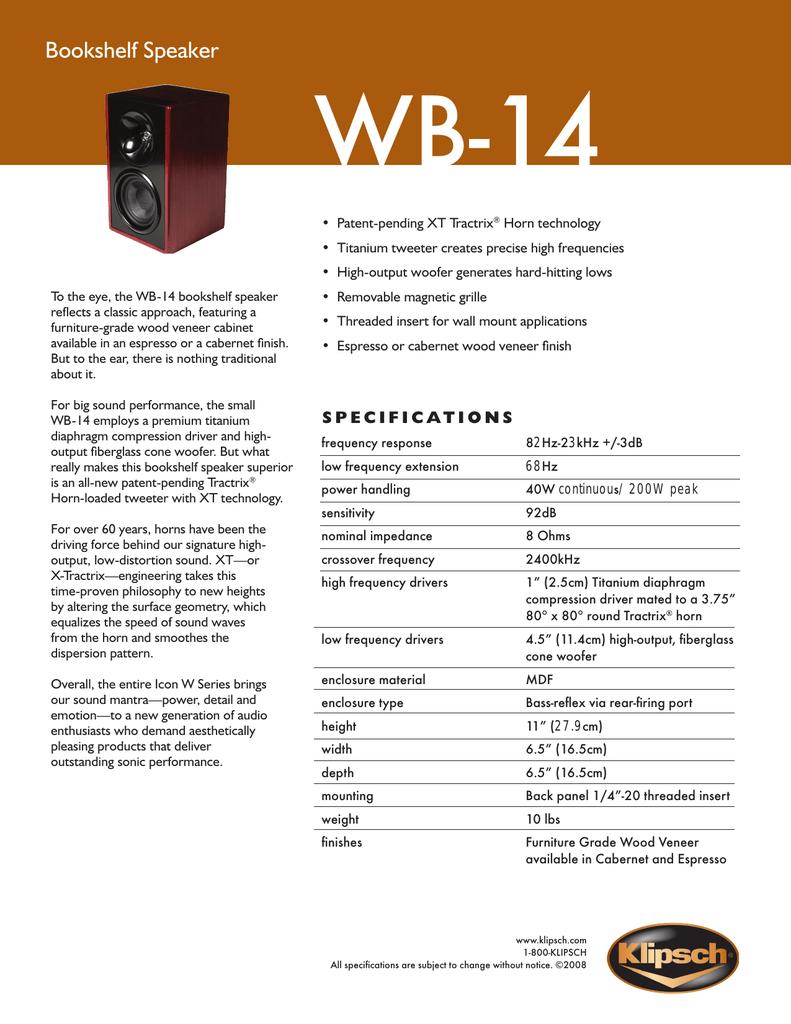 Diffusori Klipsch Icon WB14 190 e. 02185910