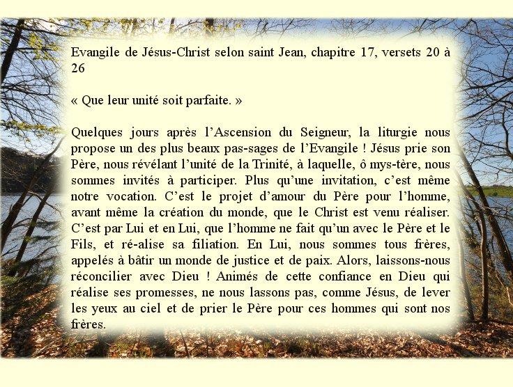 7ème Dimanche de Pâques: « Qu'ils soient un comme nous sommes un » (Jn 17, 20-26) Dimanc16