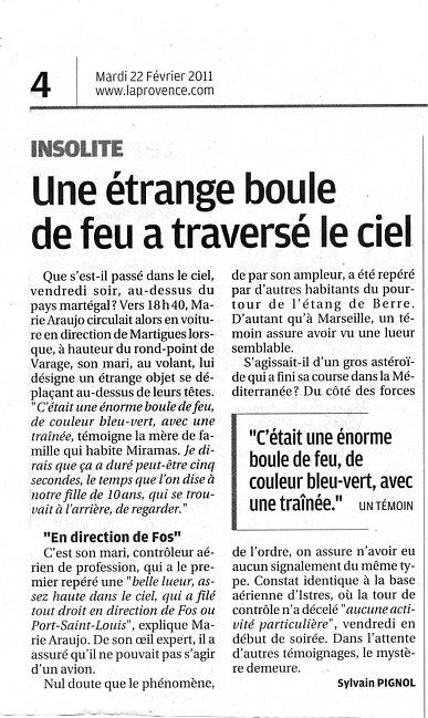 2011: Le 18/02 vers 19h05 nord d'Aix en Provence (13) Boule_11
