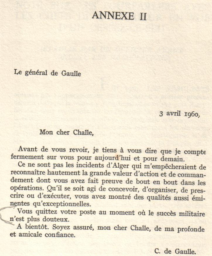 PUTSCH 21 avril 1961 - LE GENERAL CHALLE S'ADRESSE AUX FORCES FRANCAISES Annexe10