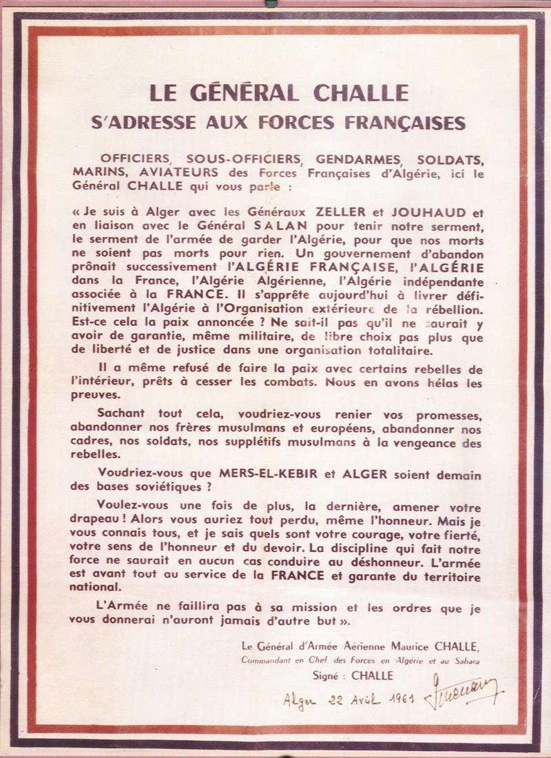 PUTSCH 21 avril 1961 - LE GENERAL CHALLE S'ADRESSE AUX FORCES FRANCAISES Dicour12