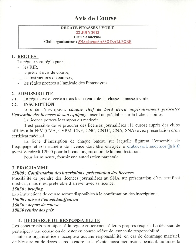 régate du SAMEDI 22 JUIN a 16h  CN ANDERNOS 11h12 17h28/85 Avis_c10