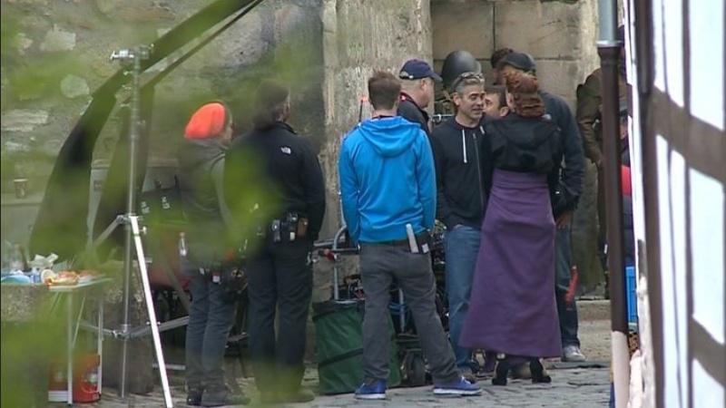 Photos: George Clooney filming in Goslar, Germany Cloone17