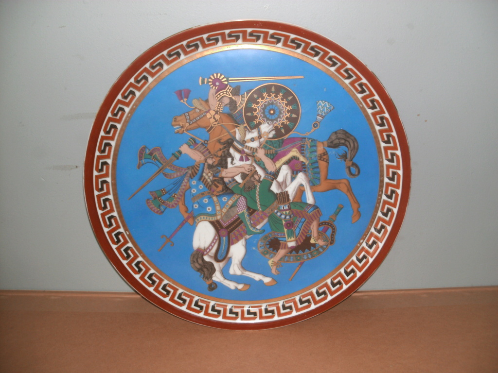 Epic battle scene on earthware plate/dish Pict0216