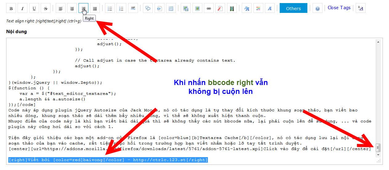JS]Khắc phục lỗi cuộn lên đầu ở khung soạn thảo khi dùng BBcode