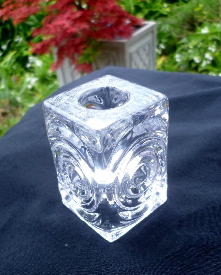Nice little 'Bulls Eye' style glass candle holder - I'm think Sklo Union P1030912