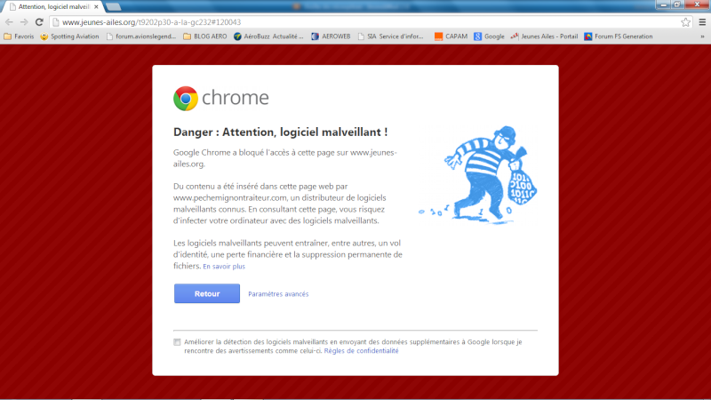 "Chrome ne bloque une page ""A la GC232"" Chrome10"