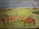Watercolour painting of horses signed marj 110