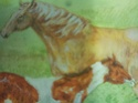 Watercolour painting of horses signed marj 410