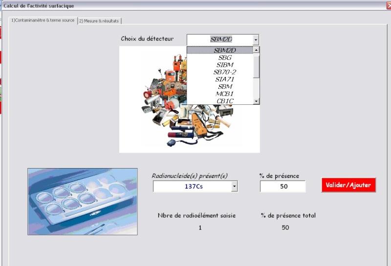 Calculer le rendement d'une sonde en fonction du radionucléide A_tab110