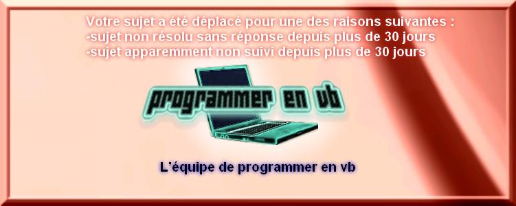Charte du forum Programmer en VB Daplac10