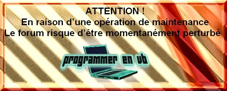 Charte du forum Programmer en VB Mainte10