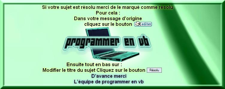Charte du forum Programmer en VB Rasolu10