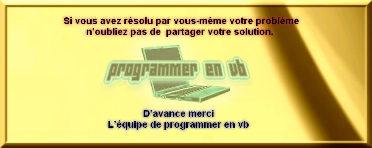 Charte du forum Programmer en VB Rasolu12