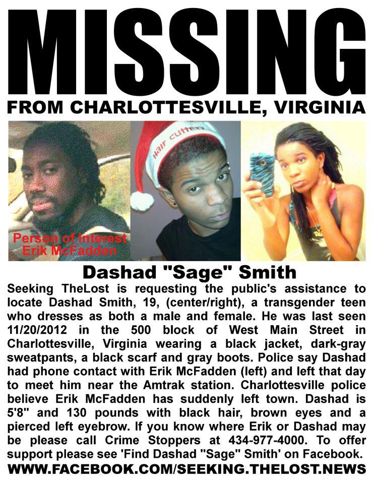 Missing Dashad 'Sage' Smith/ Erik McFadden Wanted For Questioning  A6499710